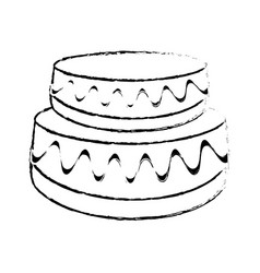 Wedding cake dessert sketch vector