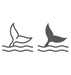 whale tail line and glyph icon aquatic and animal vector image