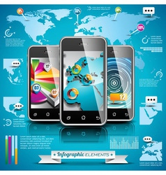 World map and information graphics on mobile phone vector image