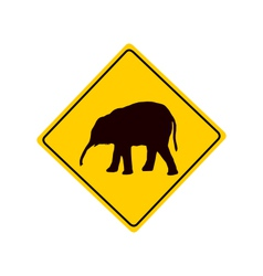 Young elephant warning sign vector