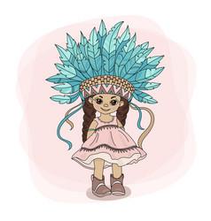 Young pocahontas indian princess hero illus vector