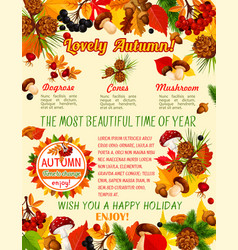 autumn leaf mushroom and berry banner template vector image vector image