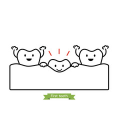 First teeth or baby tooth - cartoon outline style vector