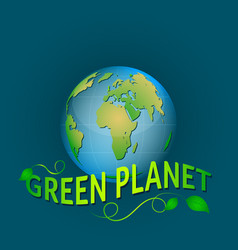 Green planet on a blue background with leaves vector