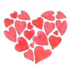 Watercolor happy Valentines Day hearts design vector image