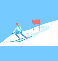 alpine skier on the ski track vector image