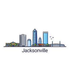 flat line jacksonville banner vector image vector image