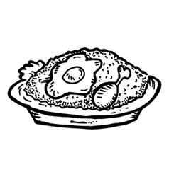 fried rice with chicken meat and egg vector image vector image