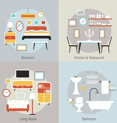 Furniture in Bedroom Restaurant Bathroom Living vector image vector image