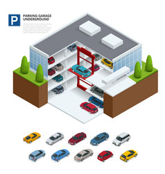 parking garage underground indoor car park urban vector image vector image