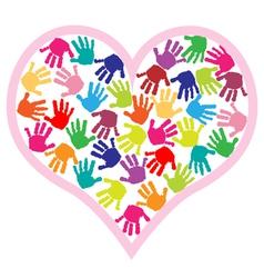 children hand prints in the heart vector image