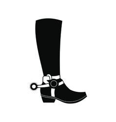 Cowboy boot black simple icon vector image