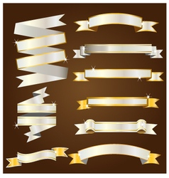 Gold and silver ribbon vector image vector image
