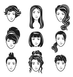 set of women avatar hairstyles stylized vector image vector image