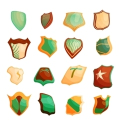 Shield icons set in cartoon style vector image