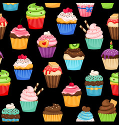 sweet cupcakes pattern on black background vector image vector image