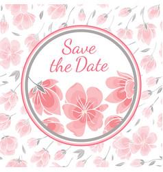 Template greeting card with sakura flowers vector