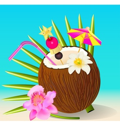 cocktail in the coconut and flower Orchid vector image vector image