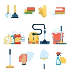 Household supplies and cleaning tools flat icons vector image