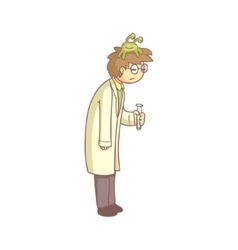 Scientist with a lazy monster on the head vector
