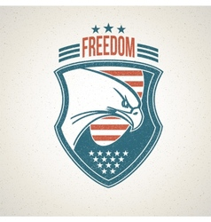 Shield logo with an american eagle symbol vector