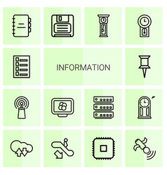 14 information icons vector image