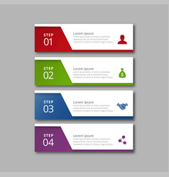 4 steps of infographic with red green blue and vector image