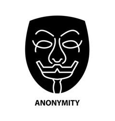 Anonymity symbol icon black sign vector