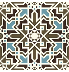 Arabesque seamless pattern in blue and brown vector