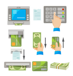 Atm usage concept set with money and credit card vector