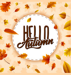 autumn round frame with falling leaves vector image