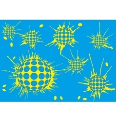 Background halftone blot balls blue vector