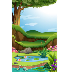 Background scene with lotus in pond vector