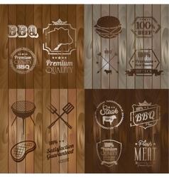 BBQ Beef menu restaurant symbol on Wooden striped vector