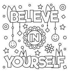 Believe in yourself coloring page vector