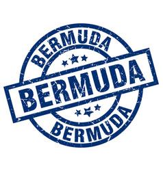 Bermuda blue round grunge stamp vector