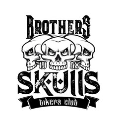 biker club badge skeleton skull and ribbon vector image
