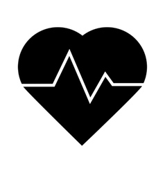 Black heartbeat icon vector