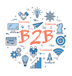 blue concept of b2b vector image