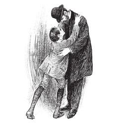 Boy giving father a hug vintage vector