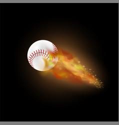 burning baseball ball with fire flame vector image