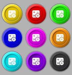 Calculator icon sign symbol on nine round vector image
