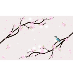 Card with stylized cherry blossom and a bird vector image