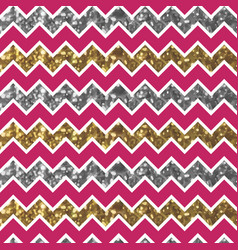 Cherry zigzag pattern with glittery gold and vector