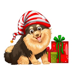 Christmas theme with cute dog and present vector