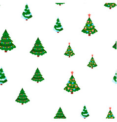 christmas tree seamless pattern winter vector image