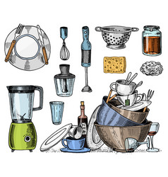 Colander blender and juicer dirty dishes jam vector
