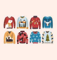Collection of ugly christmas sweaters or jumpers vector