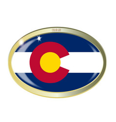 Colorado state flag oval button vector