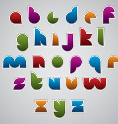 Colorful glossy geometric smooth comic font vector
